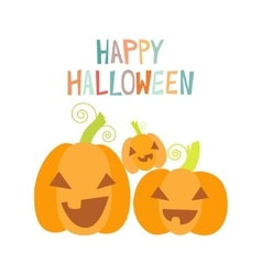 Happy pumpkins halloween design card template vector