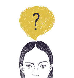 Head young woman and thought bubble vector