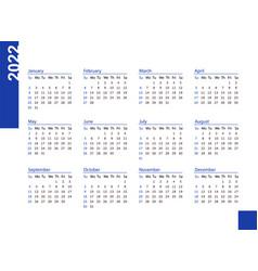 Horizontal blue pocket calendar on 2022 year vector