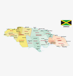jamaica administrative map with flag vector image