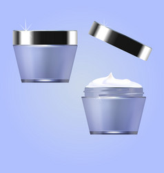 jars with cosmetic moisturizer perfumery vector image