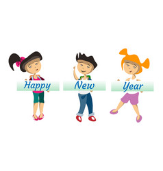 kids with banner happy new year vector image