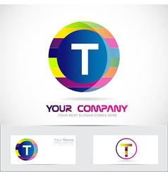 Letter t colors logo vector image