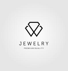 line art diamond jewelry logo design vector image