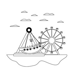 Line mechanical ship ride and ferris wheel games vector