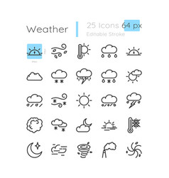 Meteorology linear icons set vector