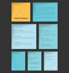 Minimalist blue resume cv template vector