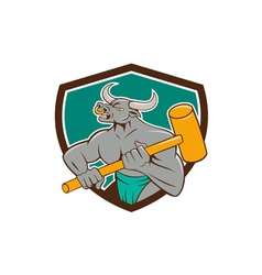 Minotaur Wielding Sledgehammer Shield Cartoon vector
