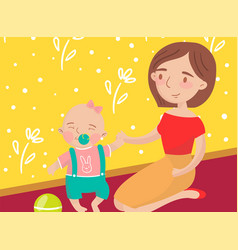 Mom playing ball with her little baby son photo vector