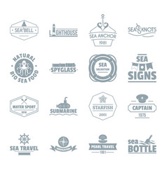 nautical sea logo icons set simple style vector image