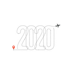 new year travel icon 2020 flight map destination vector image