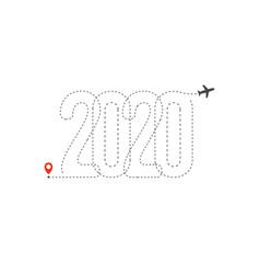 new year travel icon 2020 flight map destination vector image