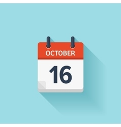 October 16 flat daily calendar icon Date vector image