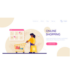 Online shopping concept woman with a package and vector