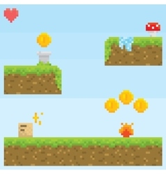 Pixel art style retro game level asset vector image