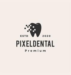 pixel dental digital hipster vintage logo icon vector image