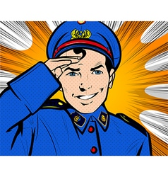 Police Officer in Uniform-Pop Art Comic Style vector image