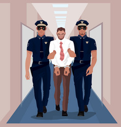 Police officers arrested businessman at office vector