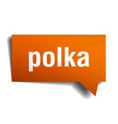 Polka orange 3d speech bubble vector