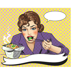 Pop art of woman eating vector