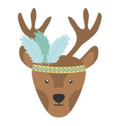 Reindeer with feathers hat bohemian style vector