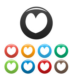 Reliable heart icons set color vector