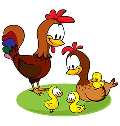 Rooster hen and chickens vector