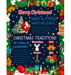 santa with gifts and holiday decorations vector image