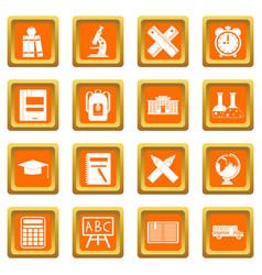 school icons set orange vector image