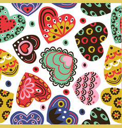 seamless pattern with vintage hearts vector image