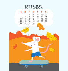 september calendar page with cute rat on vector image