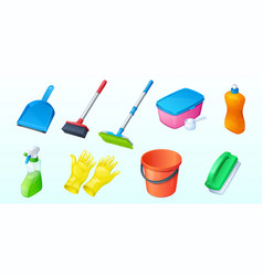 set household equipment scoop cleaning brush vector image