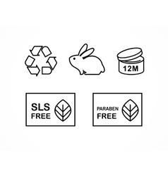Set natural cosmetics design elements icons vector