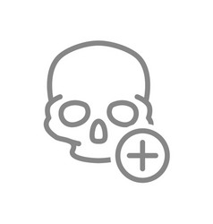 skull with plus line icon bone structure the vector image