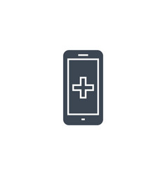 smartphone with medical app glyph icon vector image