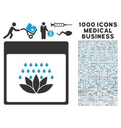 Spa Shower Calendar Page Icon With 1000 Medical vector