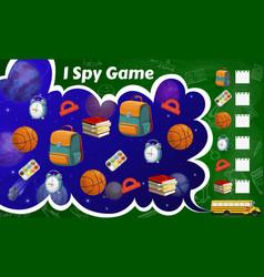 Spy game worksheet school stationery sport items vector