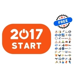 Start 2017 year rounded button icon with 2017 year vector