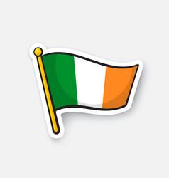 sticker flag ireland on flagstaff vector image