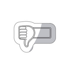 sticker grayscale contour with 3d arm with hand vector image