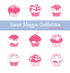 Sweet muffin collection lined vector