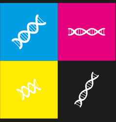 The dna sign white icon with isometric vector