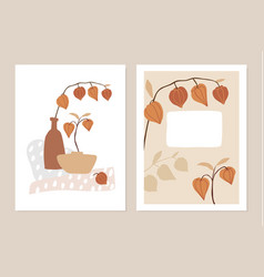 trendy set floral fall greeting cards vector image