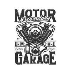 tshirt print with motorcycle engine design vector image