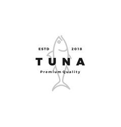 tuna fish logo emblem label seafood icon vector image