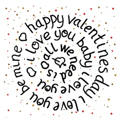 Valentines day round lettering vector