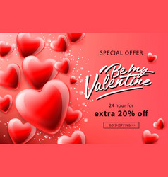 valentines day sale poster with red hearts vector image