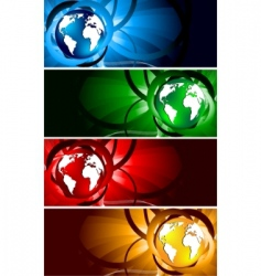 vector bright banners with globe vector image