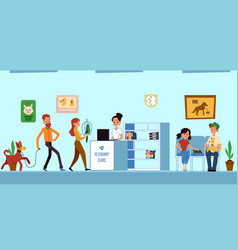 veterinary clinic reception room queue - animal vector image