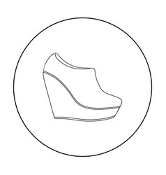 Wedge booties icon in outline style isolated on vector